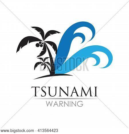 Tsunami Logo Design, Vector, Icon, Template