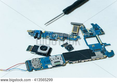 Smartphone Component Parts, Camera Chip And Printed Circuit Motherboard, Tech