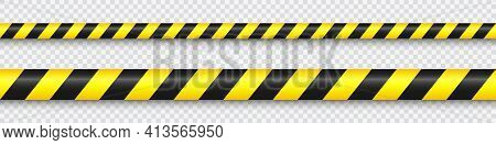 Realistic Yellow Barricade Tape. Police Warning Line. Danger Or Hazard Stripe. Under Construction Si