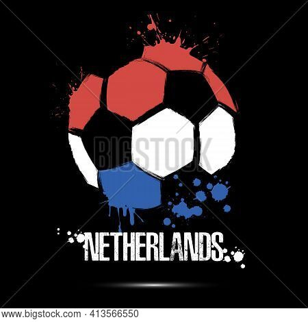 Soccer Ball With Netherlands National Flag Colors