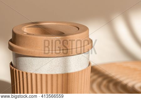 Reusable Cup, Biodegradable Travel Plastic Coffee Mug Take Away. Bamboo Eco Friendly Cup On Natural