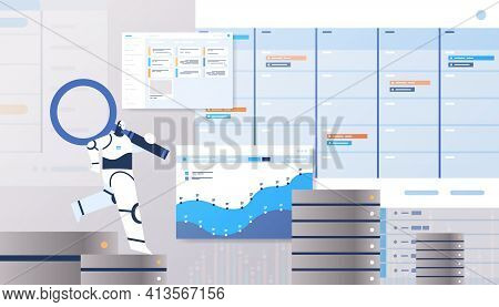 Robot With Magnifying Glass Analyzing Statistics Graphs And Charts Financial Data Analyzing Artifici
