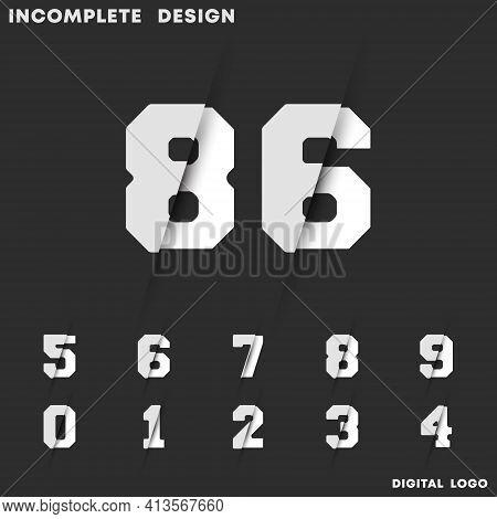 Incomplete Digital Design. Set Of Numbers 0 1 2 3 4 5 6 7 8 9. Vector Illustration.
