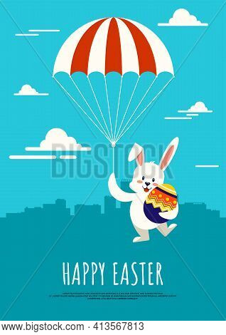 Happy Easter Day Background Decorative With Rabbit Holding Parachute And Hugging Fancy Egg Flat Desi