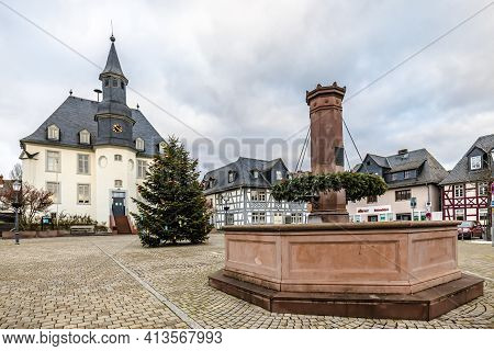 Usingen, Germany- 2021.09.01: City Hall And Marketplace In Winter, Usingen, Germany
