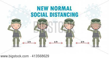 Group Of Soldiers Men And Women New Normal Lifestyle Concept. Us Army Soldiers Wearing Face Mask And