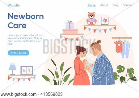 Happy Family With Newborn Baby Landing Page. Flat Young Couple Mother Father Hug Cute Sleeping Child
