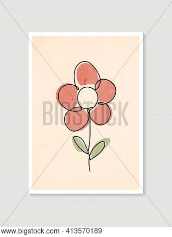 Contemporary One Line Art Posters In Pastel Colors. Botanical Wall Art Vector. Minimal And Natural W