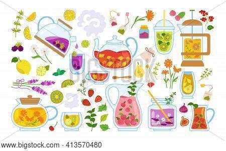 Cup Of Tea Cocktails Cartoon Set Glass Mug Teapot