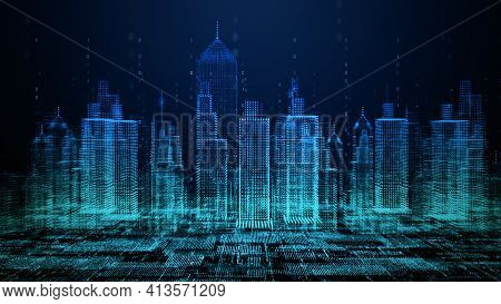 Smart City With Technology Network Connecting. Internet Of Things And Social Media Connection. Techn