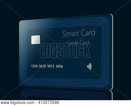 Here Is A Generic Smart Card Credit Card With A Built In Chip And Antenna Seen Around The Perimeter