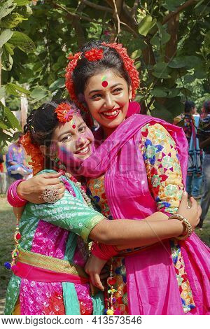 Kolkata, India - March 9th, 2020 : Beautiful Young Girls With Spring Festive Make Up , Joyful Expres