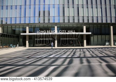 Long Beach, California - USA - March 15, 2021: Long Beach City Hall Entrance and Sign at the Civic Center. Editorial Use Only.