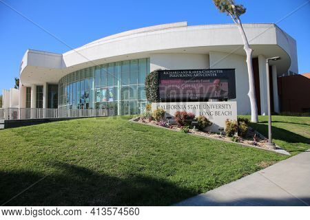 Long Beach, California USA - March 16, 2021: The Richard and Karen Carpenter Performing Arts Center at California State University Long Beach. Editorial Use Only.