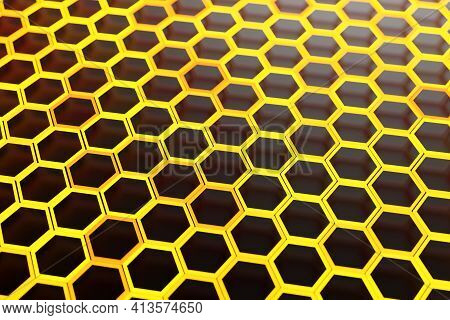 3d Illustration Of A Honeycomb Monochrome Honeycomb For Honey.  Bee Honeycomb Concept