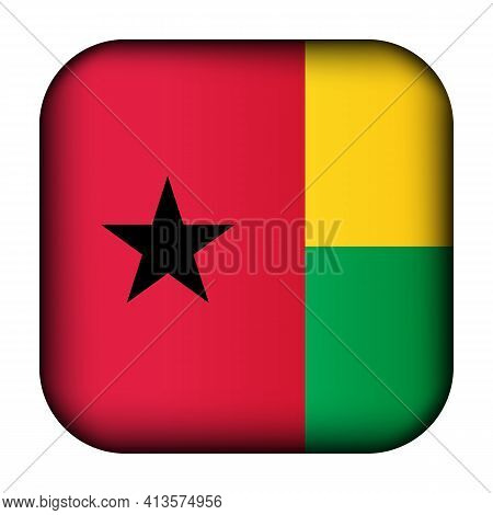 Glass Light Ball With Flag Of Guinea-bissau. Squared Template Icon. National Symbol. Glossy Realisti