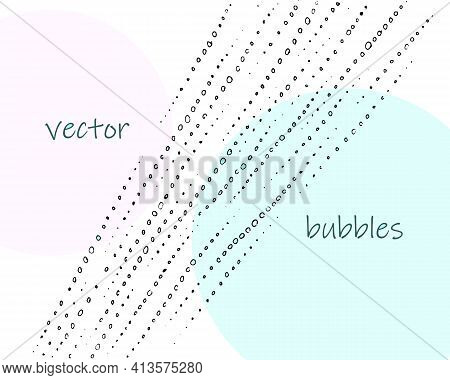Black And White Isolated Bubbles Blobs Rain Drops. Hand Drawn Simple Vector Sketch, Line, Ink