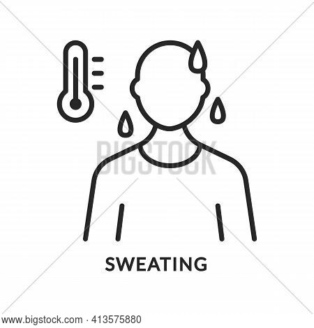 Sweating Flat Line Icon. Vector Illustration Anxiety Person And High Temperature, Fever
