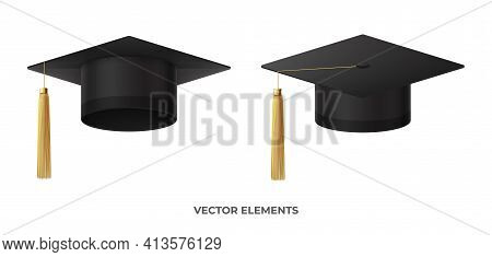 Realistic Graduation Cap Or Mortar Board. Graduation University Or College Black Cap Isolated On Whi