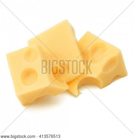 Cubes of cheese. Cheese block isolated over white background cutout