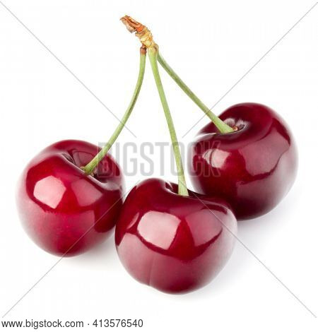 Three cherries isolated over white background cutout