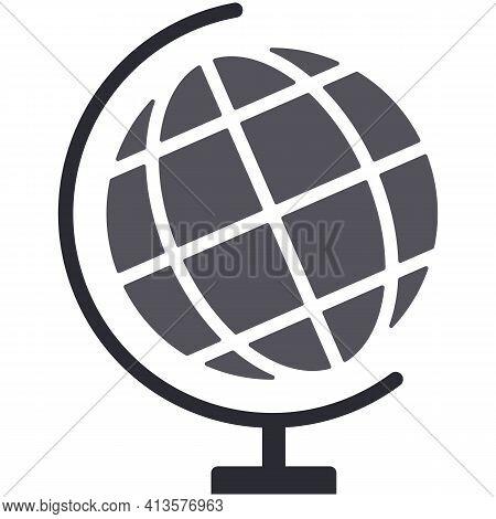 Terrestrial World Globe Vector, School Earth Map On White