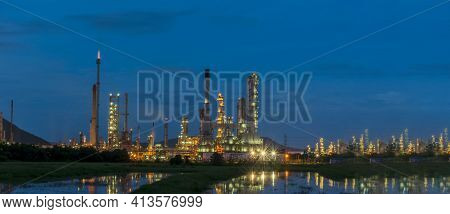 Oil Refinery Gas Petrol Plant Industry With Crude Tank, Gasoline Supply And Chemical Factory. Petrol