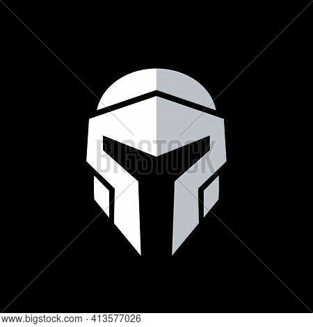 Elite Warrior Logo Design, Knight Armor Icon, Iron Helmet - Vector