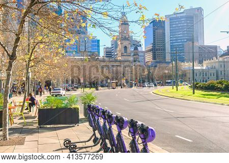 Adelaide, South Australia - August 13, 2019: Beam E-scooters Parked Near Victoria Square And Ready T