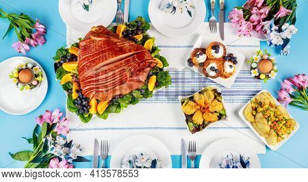 Festive Easter Table With Ham, Salad And Pancakes. Easter Dinner.