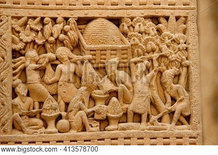 View Of Daily Life Activities Depicted In Stone Pillar Carving At Stupa In Sanchi, Near Bhopal, Madh