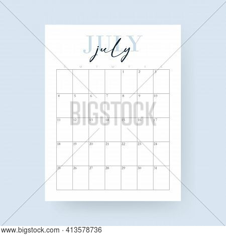 2021 Calendar July Month. Layout For 2021 Years. Week Starts From Sunday. Wall Calendar Template For