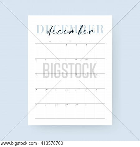 December Month 2021 Calendar. Layout For 2021 Years. Week Starts From Sunday. Wall Calendar Template