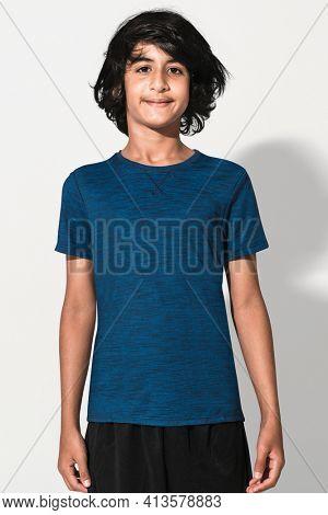 Blue basic t-shirt for boys youth apparel studio shoot
