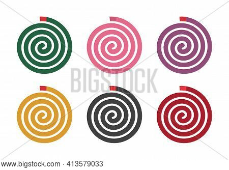 Set Of Mosquito Coil With Different Color, Isolated On White Background, Vector Illustration Design