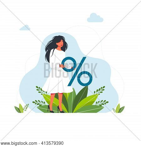 Woman Holding A Big Percentage Sign.discount Promotion, Savings Sales Offer. Bank Loan Calculation.