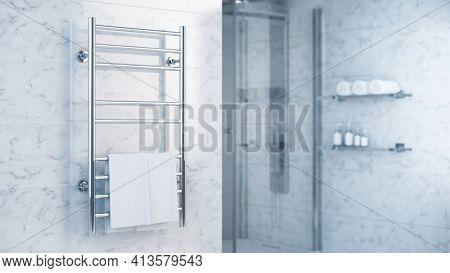 Bathroom Towel Heater Warmer with Towels in modern bathroom - 3d rendering