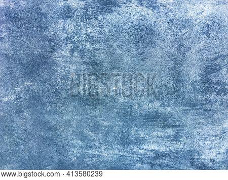 Texture Decorative Navy Blue Plaster Imitating Old Peeling Wall. Obsolete Cracked Stone Background W