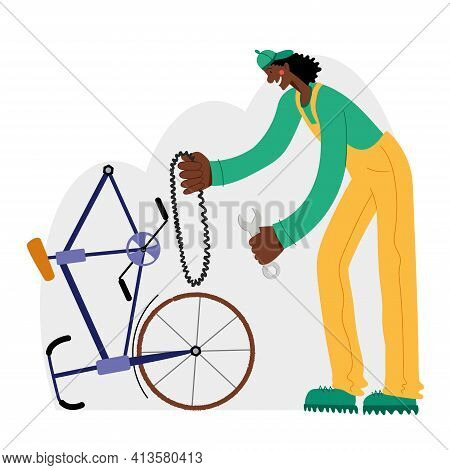 Bicycle Repair. The Black Mechanic Repairs The Bicycle. Web Graphics, Banners, Advertisements, Busin
