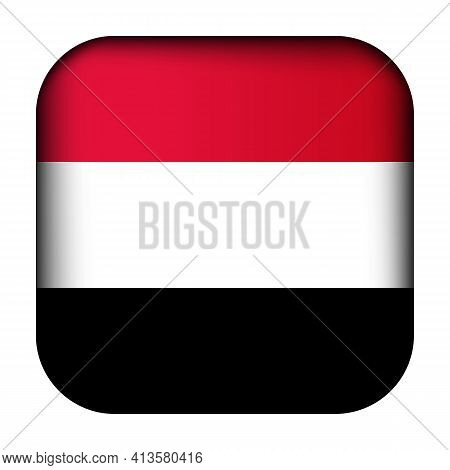 Glass Light Ball With Flag Of Yemen. Squared Template Icon. National Symbol. Glossy Realistic Cube,