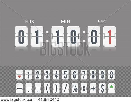 White Scoreboard Symbol Number Font. Coming Soon With Flip Time Counter. Vector Modern Ui Design Old