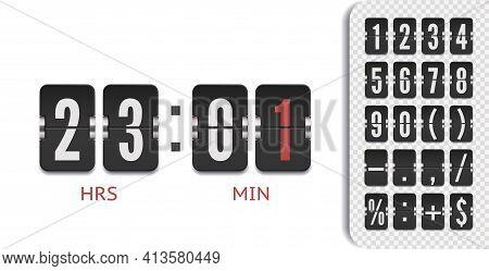 Retro Score Board Clock. Scoreboard Countdown Number Font Vintage Flip Clock Time Counter Vector.