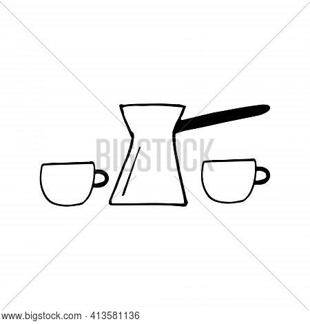 Cezve And Cups Set Icon. Sketch Hand Drawn Doodle Style. Vector, Minimalism, Monochrome. Cookware Dr