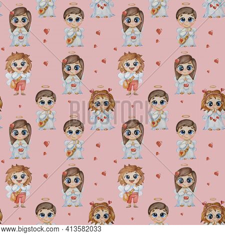 Kids Collection Of Seamless Patterns. Cute Beautiful Angels Kids - Girls And Boys With Wings And A H