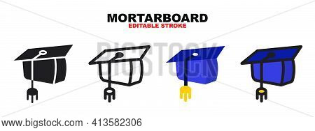 Mortarboard Icon Set With Different Styles. Colored Vector Icons Designed In Filled, Outline, Flat,