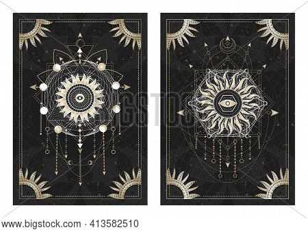 Vector Dark Illustrations With Sacred Geometry Symbols, Grunge Textures And Frames. Images In Black,