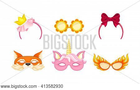 Carnival Or Party Headband And Masks With Unicorn And Fox Muzzle Vector Set