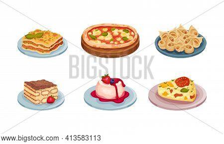 Italian Cuisine Dishes With Pizza And Tiramisu Dessert Vector Set