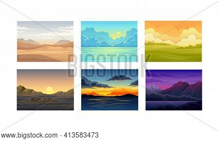 Picturesque Nature Landscapes With Sunset And Sunrise Vector Illustrations Set