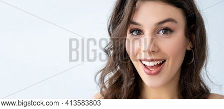 Skin Care. Advertising Banner. Special Offer. Surprised Astonished Woman With Perfect Face Plump Lip